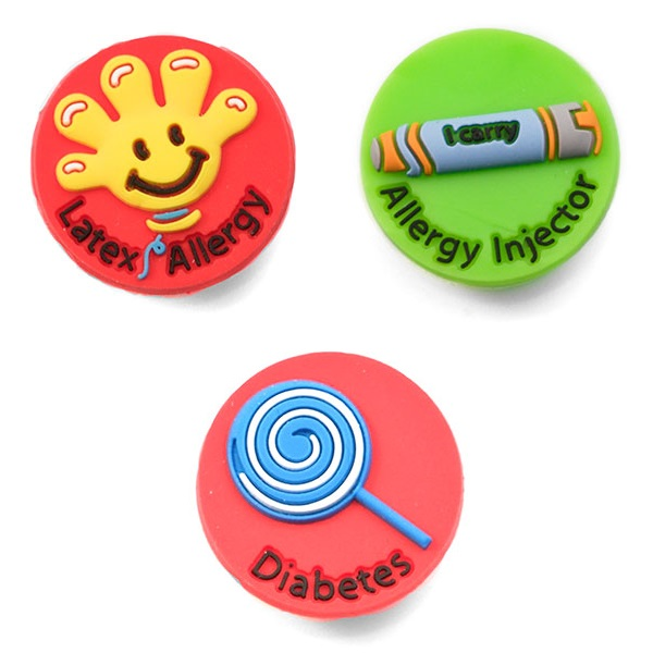 Kids Rubber Medical Alert Allergy Bracelets for Buttons inset 5