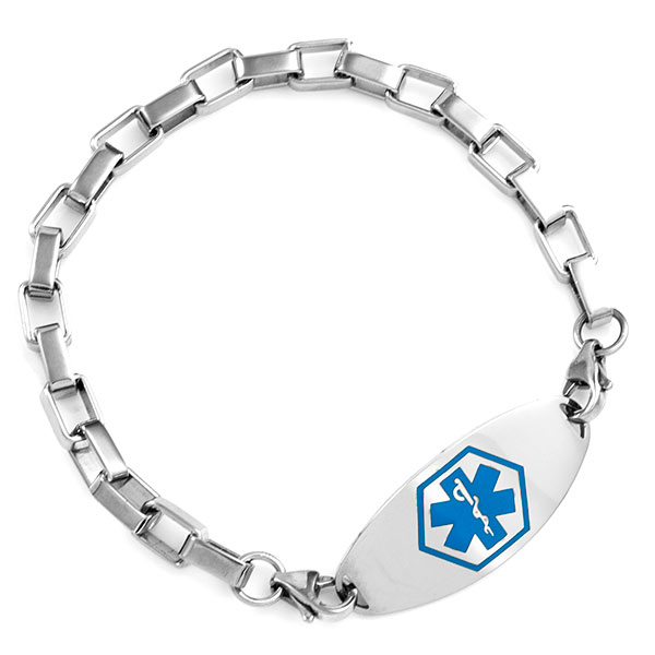 Stainless Square Link Bracelet for Medical ID Tags inset 2