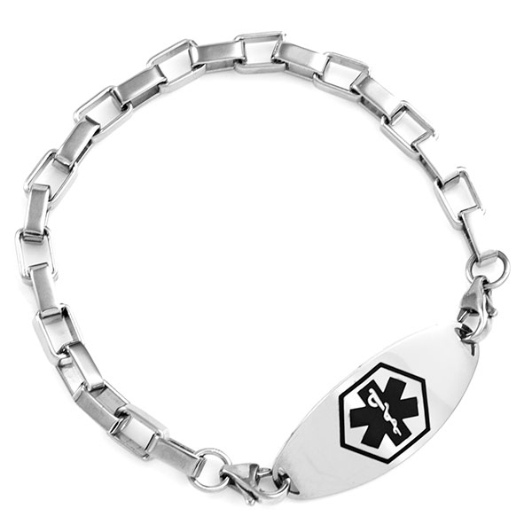 Stainless Square Link Bracelet for Medical ID Tags inset 3