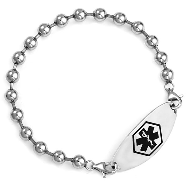 Stainless Spaced Beaded Medical Alert Bracelet for ID Tags inset 2