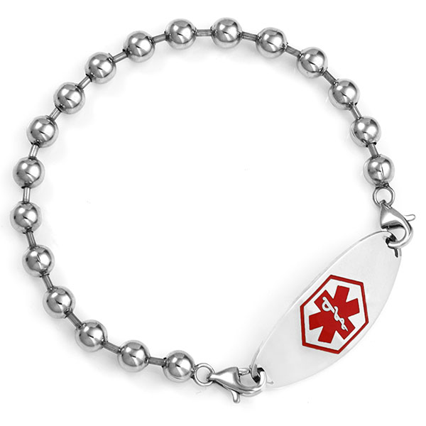 Stainless Spaced Beaded Medical Alert Bracelet for ID Tags inset 3