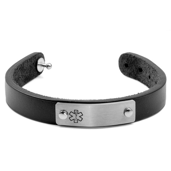 Black Leather Adjustable Medical Alert Bracelet inset 1