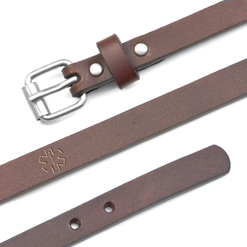 Genuine Leather Buckle Style Diabetes Bracelets inset 1