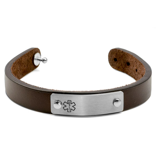 Adjustable Classic Leather Medical ID Bracelet inset 1