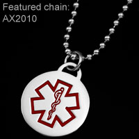 Round Stainless Steel Medical ID Small Pendant inset 1