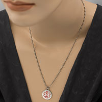 Round Stainless Steel Medical ID Small Pendant inset 2