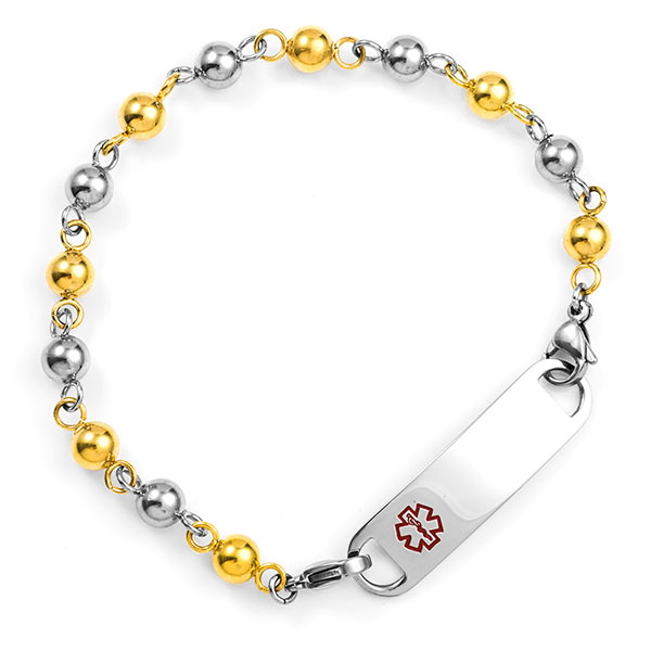 Steel & Gold Beaded Medical Alert Bracelet Without Tag 6 Inches inset 1