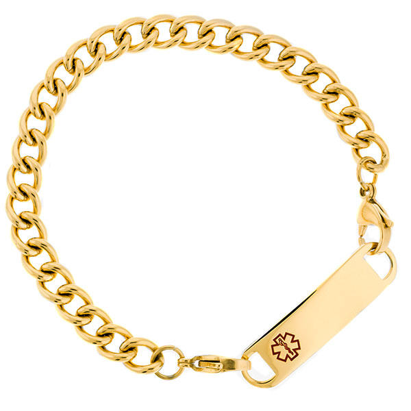 Gold Thick Curb Link Medical Bracelets Chain inset 1