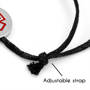 Black Cotton Asthma Bracelet for Men & Women inset 1