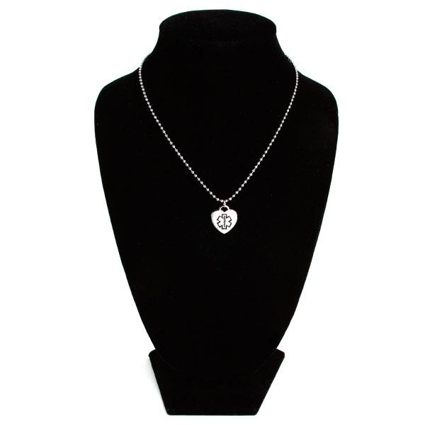Black Medical Alert Stainless Steel Small Heart Pendant inset 2