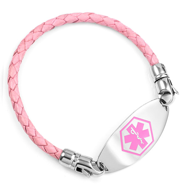 Make Your Own Pink Braided Leather Bracelet 7 In (No Tag) inset 1