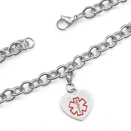 Medical Stainless Cable Link Heart Charm Bracelet 7.5 In inset 1