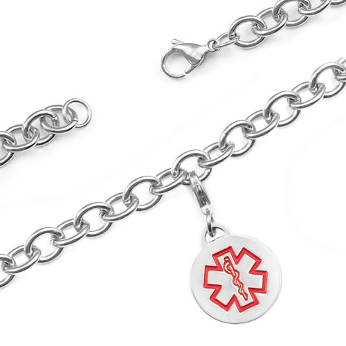 Medical Alert Stainless Cable Link Charm Bracelet 7.5 In inset 1