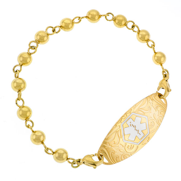 Yellow Gold Beaded Medical  Bracelets for Medical Tags inset 1