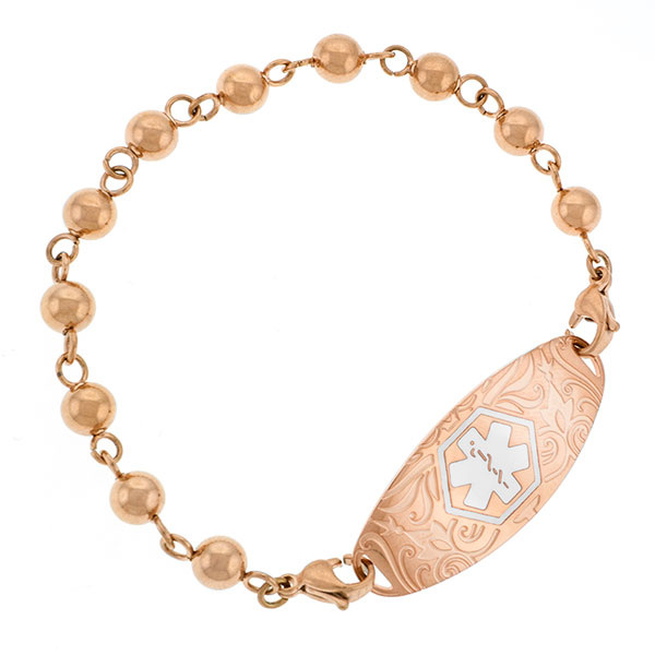 Rose Gold Beaded Medical Alert Bracelet for Medical Tag inset 1
