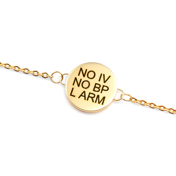 Gold 3/4 inch Charm Medical ID Bracelet for Women inset 1