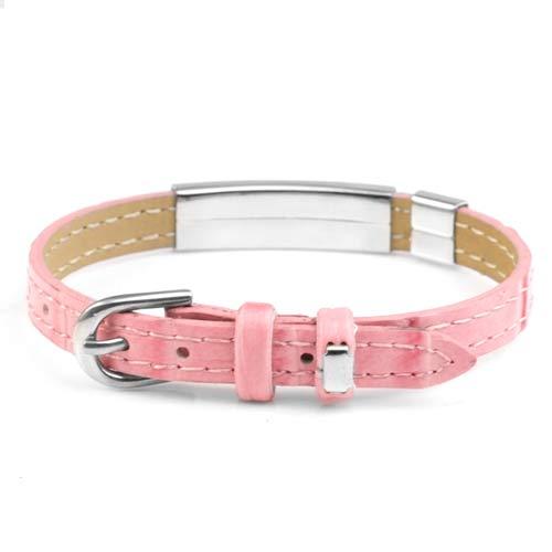 Faux Pretty Pink Leather Diabetic Bracelets  inset 1