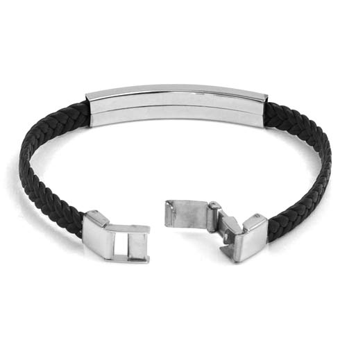 York Braided Leather Medical Bracelets inset 1