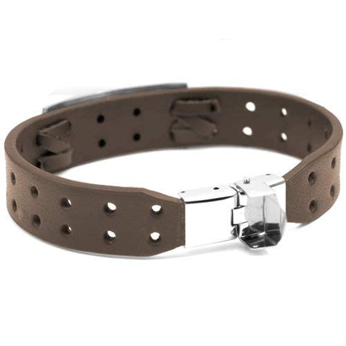 8 Inch Bravo Medical Brown Leather ID Bracelet  inset 1