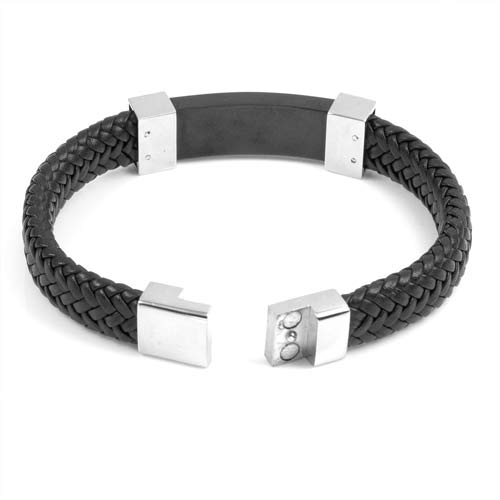 Classy Steel Leather Medical Alert Bracelets for Men inset 2