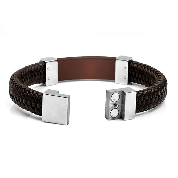 Leather & Bronze Steel Medical Alert Bracelets for Men inset 1
