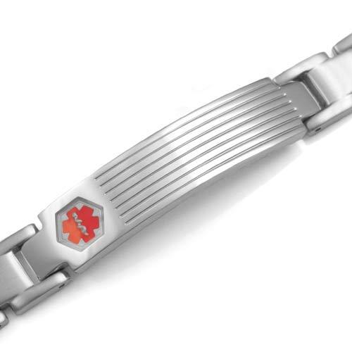 Benedict Steel Link Medical ID Bracelet  inset 1