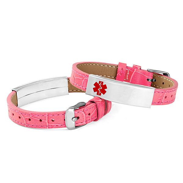 Adjustable Pink Leather Medical Alert Bracelet inset 1
