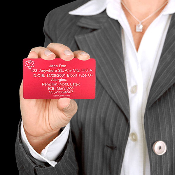 Engravable Red Aluminum Medical ID Card for Wallet (Personalize for $7.95) inset 1