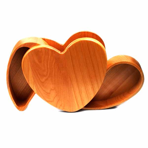 Maple Wood Engraved Heart Keepsake Box with Rotating Compartments inset 2