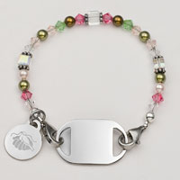 Pink & Green Links of Hope Beaded Medical Alert Bracelets  inset 2