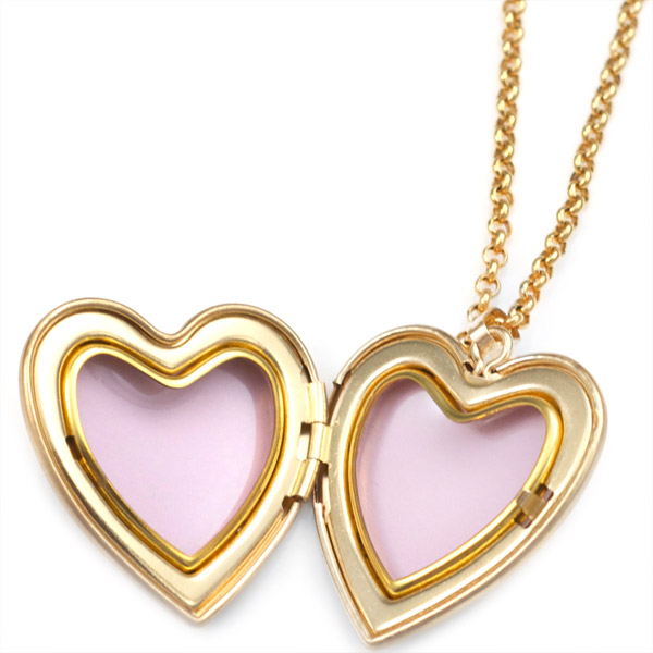 Cross Gold Filled Baptism 2 Photo Heart Locket 15/16 Inch inset 1