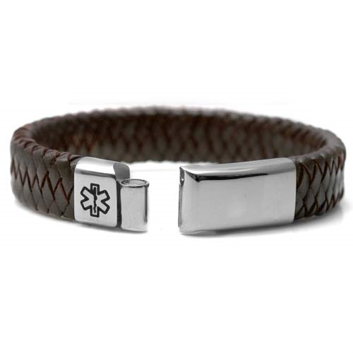 Braided Brown Leather Medical Alert Bracelet for Men inset 1