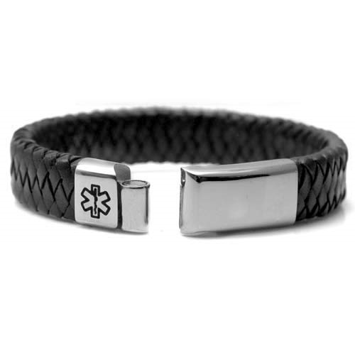 Classy Braided Black Leather Medical ID Bracelet inset 1