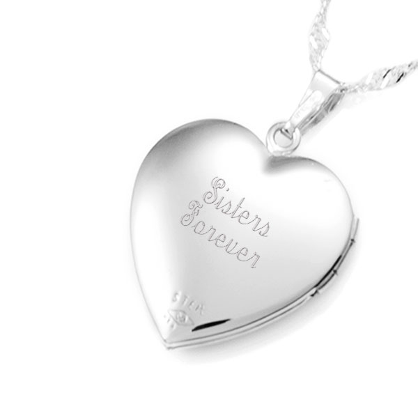 Sterling Silver Diamond Heart Engraved Locket Necklace inset 2