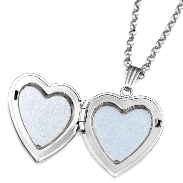 Sterling Silver Diamond Heart Engraved Locket Necklace inset 1