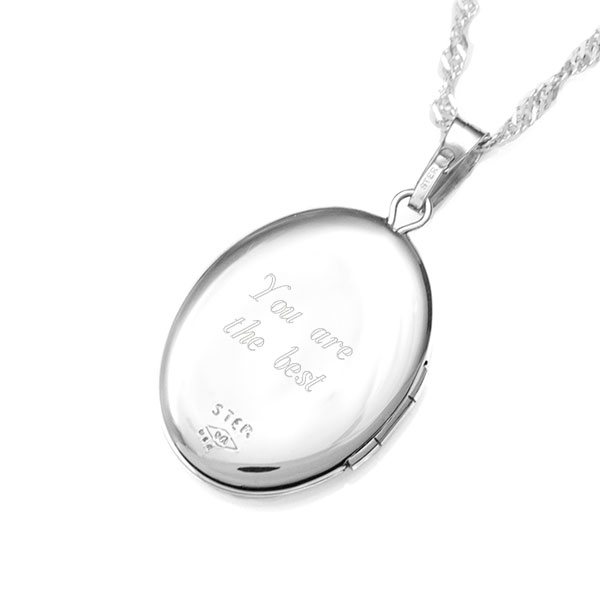 Love You Sterling Silver 2 Pic Engraved Locket inset 2