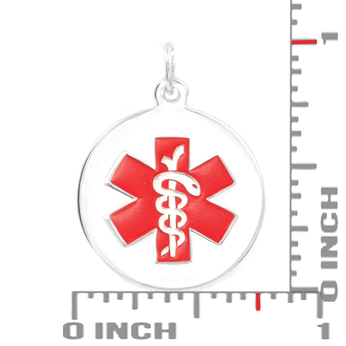 Sterling Silver Round Medical Alert Charm inset 1