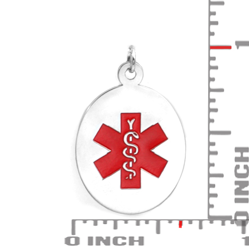 Sterling Silver Medical Alert Oval Small Pendant inset 1