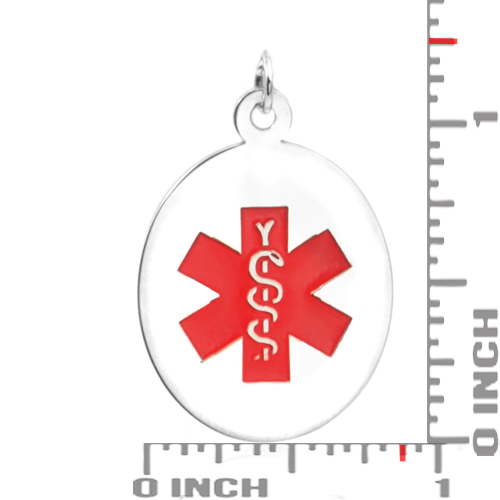 Sterling Silver Medical Alert Oval Medium Pendant inset 1