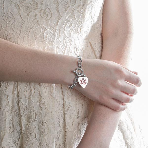 Amara Sterling Heart Charm Medical ID Bracelet inset 2