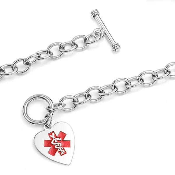 Amara Sterling Heart Charm Medical ID Bracelet inset 1