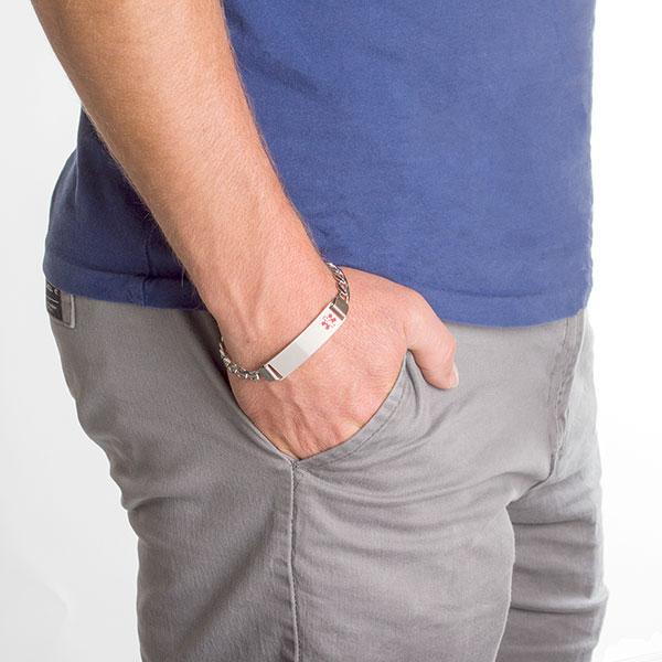 Byron Anchor Link Sterling Silver Medical Bracelet inset 2