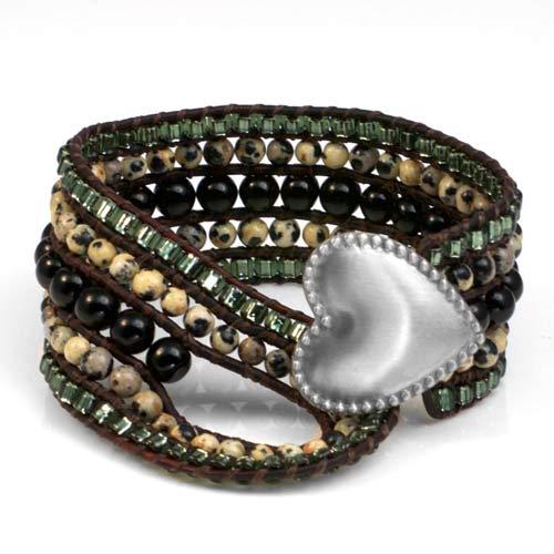 Dalmatian Jasper Heart Button Beaded Leather Cuff LG inset 1