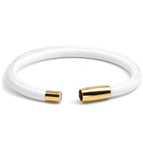 Juliet White Soft Leather Gold Tone Bracelet inset 1