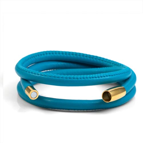 Echo Turquoise Soft Leather Multi Wrap for Gold Charms inset 1