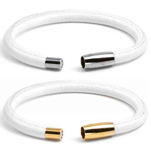 White and Gold Soft Leather Medical Alert Bracelets for Women  inset 2