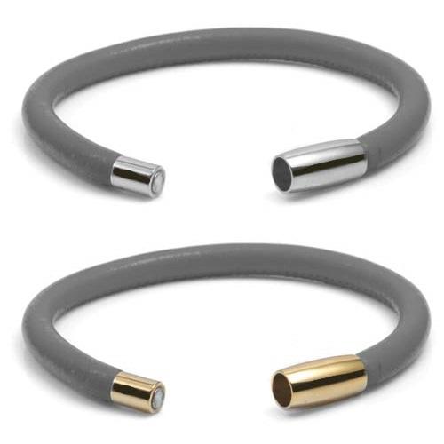 Gray Soft Leather Medical Alert Bracelets for Women inset 2