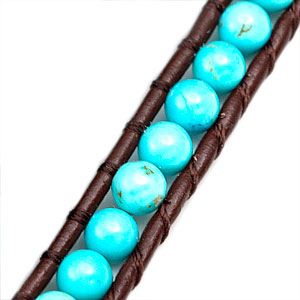 Turquoise Bead with Brown Leather Womens Multi Wrap Bracelet inset 1