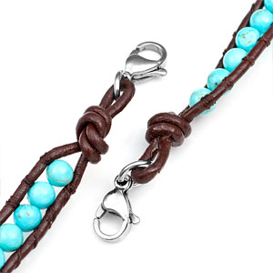 Turquoise Bead with Brown Leather Womens Multi Wrap Bracelet inset 2