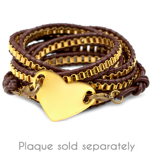 Gold Plated Chain Brown Leather Womens Multi Wrap Bracelet inset 1